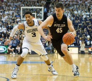 Feb 22, 2017; Villanova, PA, USA; Butler Bulldogs forward Andrew Chrabascz (45) dribbles against Villanova Wildcats guard Josh Hart (3) during the first half at The Pavilion. Mandatory Credit: Bill Streicher-USA TODAY Sports